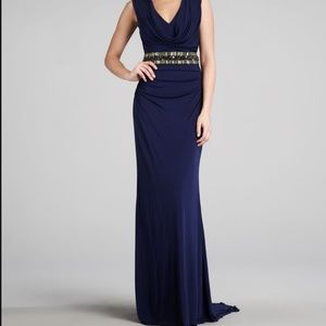 Badgley Mischka Collection Navy Embellished Gown 4